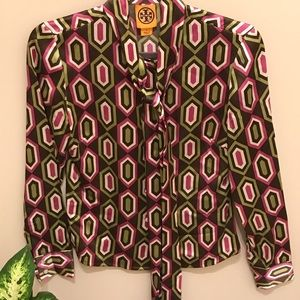 Tory Burch silk button down blouse with tie